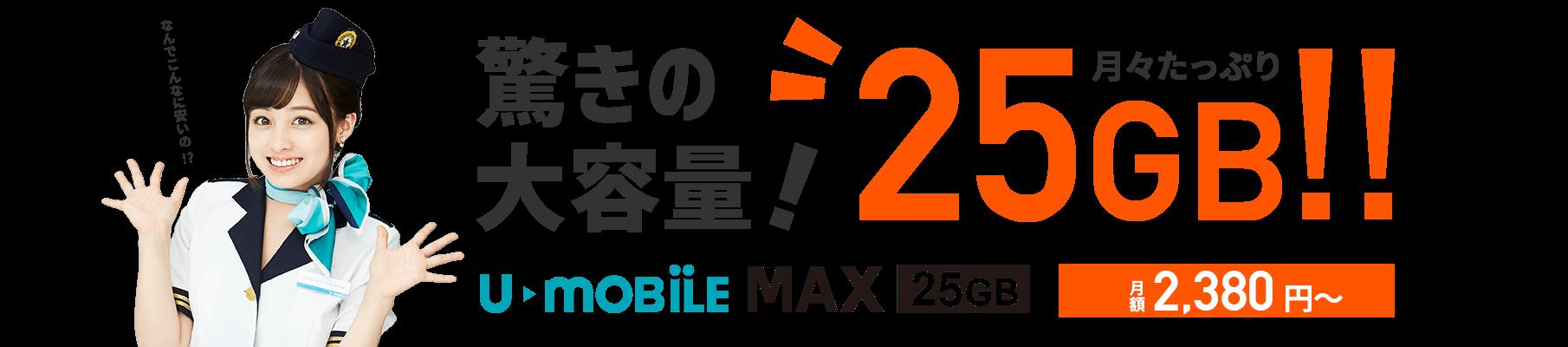 u-mobileは大容量25GBで月額2,380円~