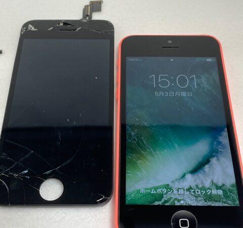 安城市より、iPhone5C画面割れ修理にてご来店!